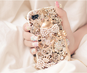 iphone, phone, and gold image