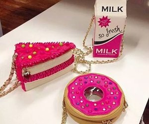 pink, donuts, and milk image