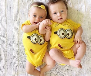 baby, minions, and twins image