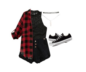 black, high waisted shorts, and outfit image