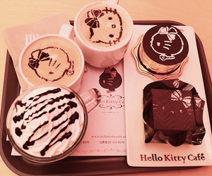 cake, coffee, and hello kitty image