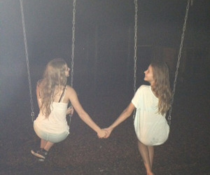 girl, night, and friends image