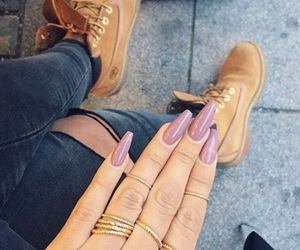 jewelry, nails, and timberland image