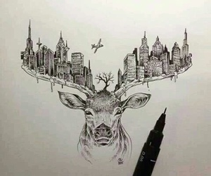 art, deer, and city image
