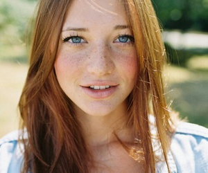 girl, blue eyes, and freckles image