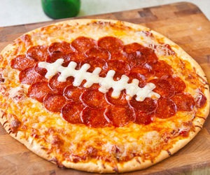 football, pizza, and pepperoni image