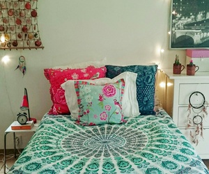 bedding, blue, and dreamcatcher image