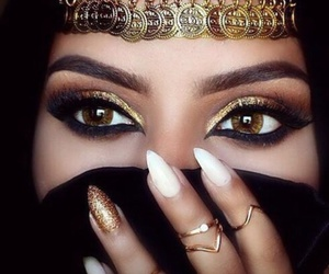 makeup, nails, and gold image