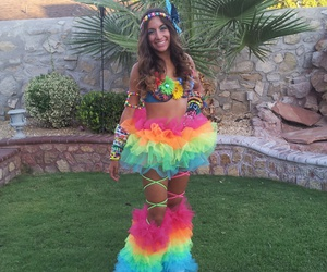 outfit, rainbow, and rave image