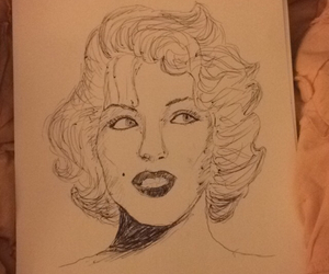 art, drawing, and marilynmonroe image