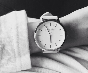 black and white, outfit, and watch image