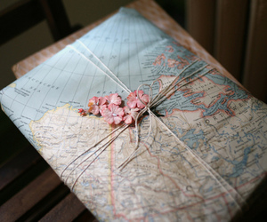 map, flowers, and world image