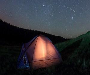 night, stars, and tent image