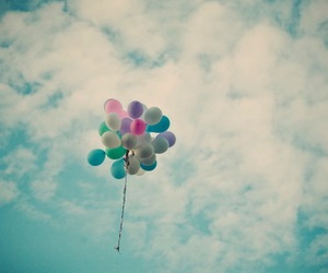 balloons, sky, and clouds image