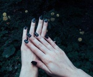 black nails, hands, and nail art image