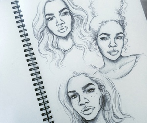 art, girl, and sketches image