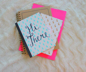 girly, notebook, and school image