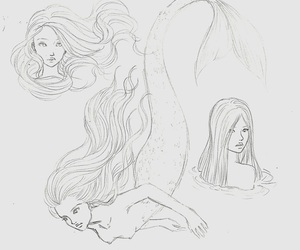 mermaid, sketch, and tattoo image