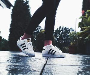 adidas, black and white, and lifestyle image