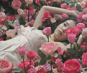 black hair, make up, and roses image
