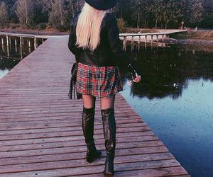 autumn, blond hair, and fasion image