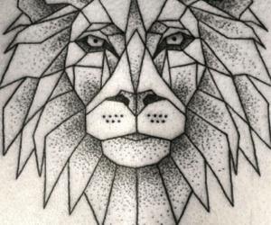 geometric, lion, and tattoo image