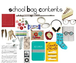 school, back to school, and school bag contents image