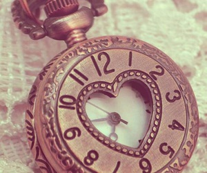 clock, heart, and vintage image