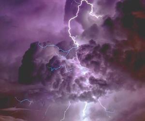 beautiful, lightning, and purple image