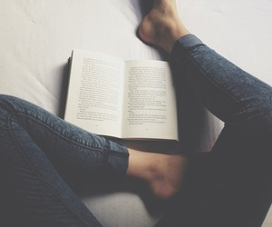 book, reading, and jeans image