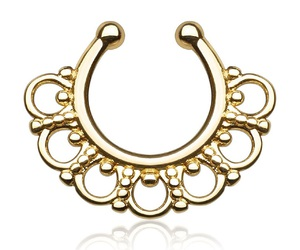 gold, jewelry, and nose ring image