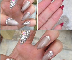 diamond, red bottom, and point nails image