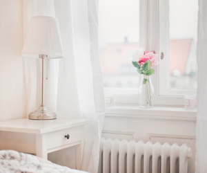 bedroom, white, and flowers image