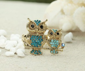 owl rings, rhinestone owl rings, and gold owl rings image