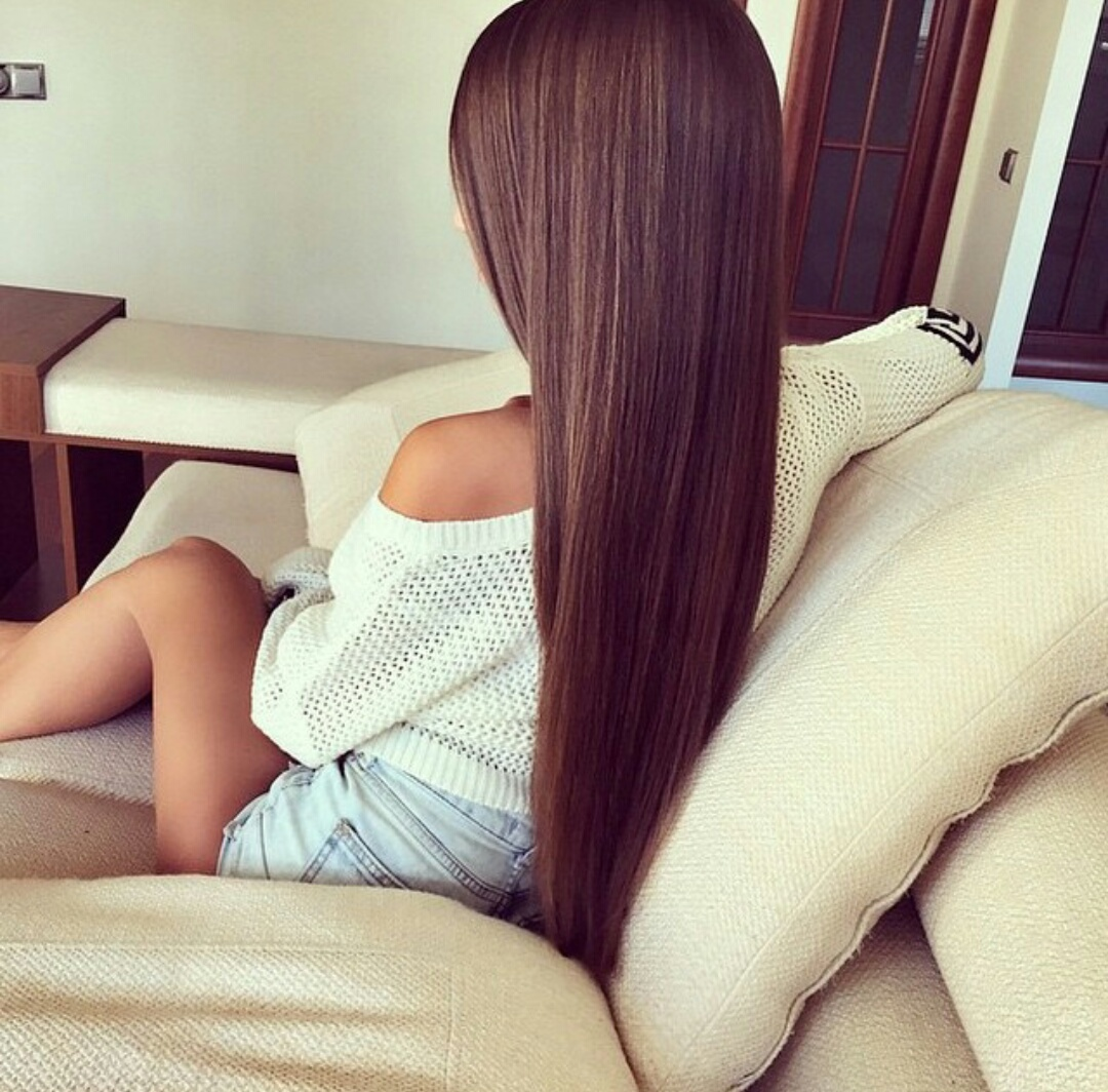 denim shorts, straight brown hair, and white sweaters image