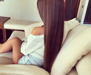 straight brown hair, denim shorts, and white sweaters image