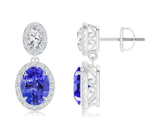 earrings claw tanzanite and diamond halo earrings image