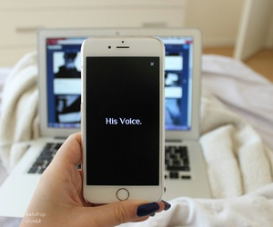 iphone, laptop, and his voice image