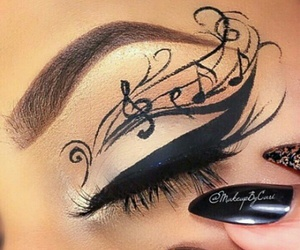 music, eyes, and makeup image