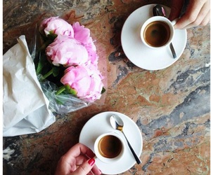 flowers, coffee, and couple image