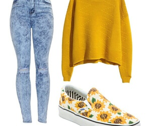 outfit, Polyvore, and yellow image