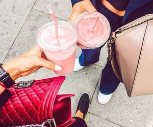 chanel, pink, and drinks image