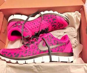 leopar, pink, and nike image