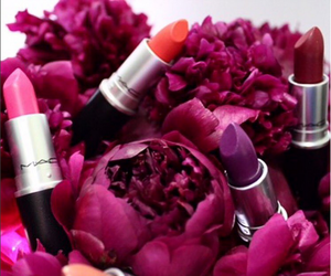 lipstick, mac, and flowers image