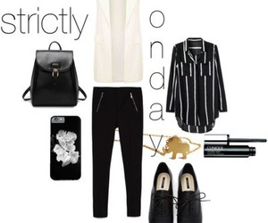 black and white, fashion, and outfit image