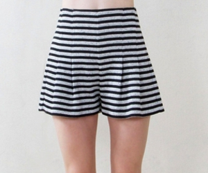 black and gray, striped shorts, and high waisted shorts image