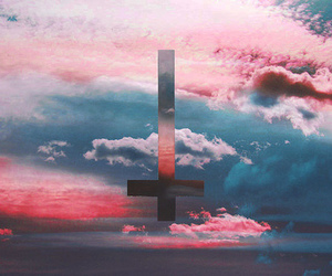 cross, sky, and pink image