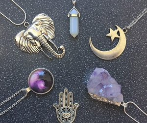 necklace, moon, and grunge image