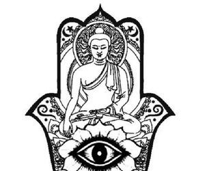 black, black and white, and Buddha image