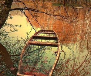 boat, autumn, and photography image